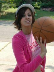 Pictures of Alyssa Doll flashing outside on the basket ball court