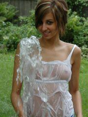 Pictures of Alyssa Doll getting herself all wet