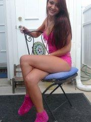 Pictures of teen amateur Annabelle Angel teasing in her backyard