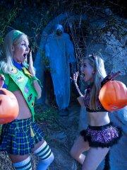 Pictures of Ashley Fires having some Halloween lesbian sex