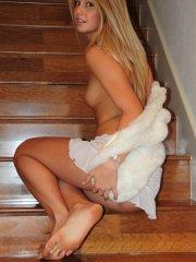 Pictures of teen cutie Aston Richards exposing herself on the stairs