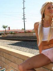 Pictures of Casey Parker flashing on the tracks