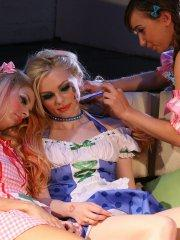 Pictures of Jana Jordan playing doll with her friends