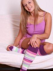 Pictures of Courtney Lightspeed teasing in striped socks