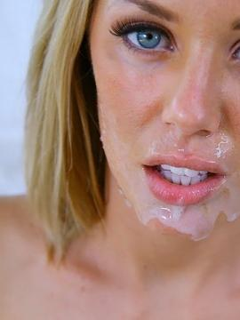 Pictures of Nicole getting cum all over her pretty face