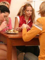 Pictures of Dana Lightspeed having a naughty breakfast with her friends