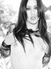 Pictures of Dawn Avril showing off in black and white