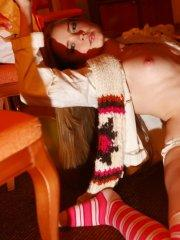 Pictures of teen Ema's Place teasing in long striped socks