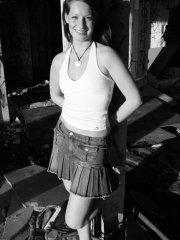 Pictures of teen model Emily Sweet flashing in black and white