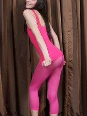 Pictures of Fuckable Lola teasing in pink spandex