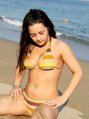 Pictures of Hardcore Mandy showing off in a bikini