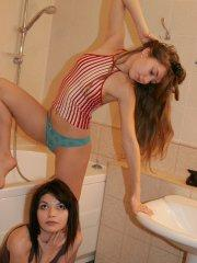 Pictures of teen porn girl Kaira 18 soaping up with her girlfriend