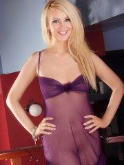 Pictures of Katie K getting naughty in her purple lingerie