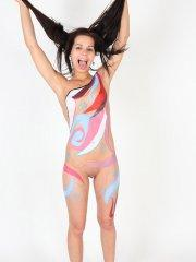 Pictures of Kiki 18 getting covered in latex paint