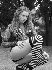 Pictures of MeganQT wearing striped socks in black and white