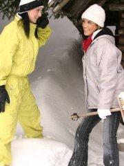 Pictures of teen cutie Mili Jay eating pussy on a ski trip