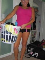 Pictures of teen cutie Miss Sandra Mae getting naughty on laundry day
