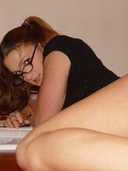 Pictures of Misty Anderson working hard on her studies