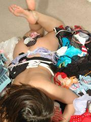 Pictures of Natalie Sparks messing around with her clothes