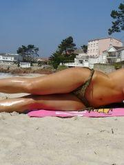 Pictures of Nayara Blue catching some rays on the beach