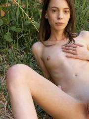 Skinny girl Aria Haze gets fully nude for you outside