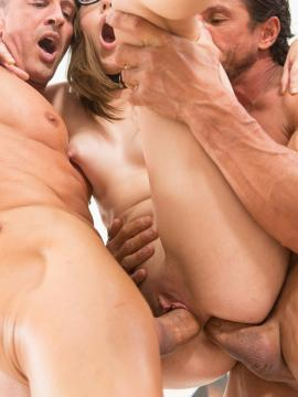 Innocent coed Nickey Huntsman gets punished by two hard cocks