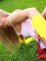 Pictures of teen Sabrina Blond enjoying cock outside