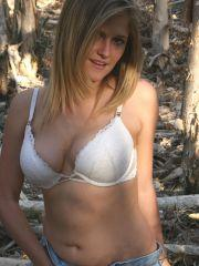 Pictures of Samantha Gauge stripping outside