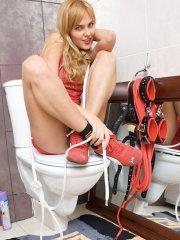 Pictures of teen star Sasha Blonde messing around on a toilet