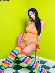 Pictures of Tanya James dressed in sexy striped socks