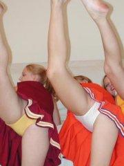 Pictures of Taylor and Raimi enjoying lesbian sex when they were cheerleaders