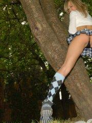 Pictures of Teen Kasia being a naughty schoolgirl in a park