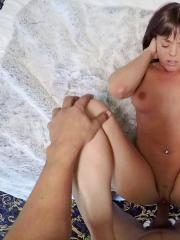 Busty brunette Rahynde puts out for cash