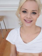Blonde teen Elsa Jean gives a hot pov blowjob