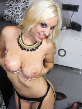Busty girl Blondie Fesser uses her mouth, tits and feet to pleasure a cock