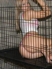 Tiffany trapped in a cage