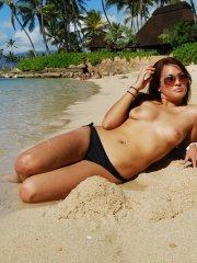 Pictures of Vicki Vice exposing herself on the beach